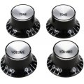 Gibson Accessories Top Hat Style Knobs w/Metal Insert - Black w/Silver
