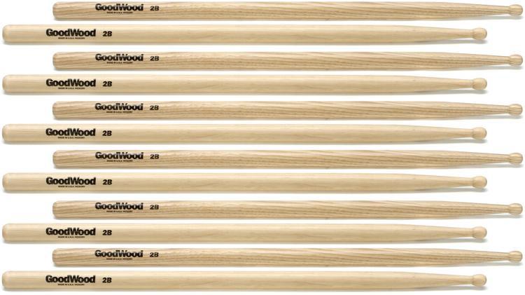 Goodwood US Hickory Drumsticks - 6 Pair - 2B Wood Tip image 1