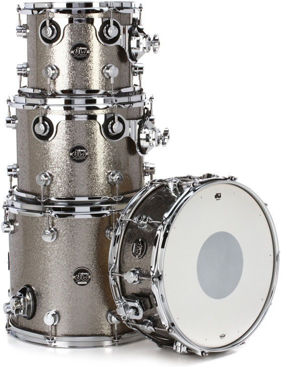 DW Performance Series 4-Piece Tom/Snare Pack - Titanium Sparkle Finish Ply image 1