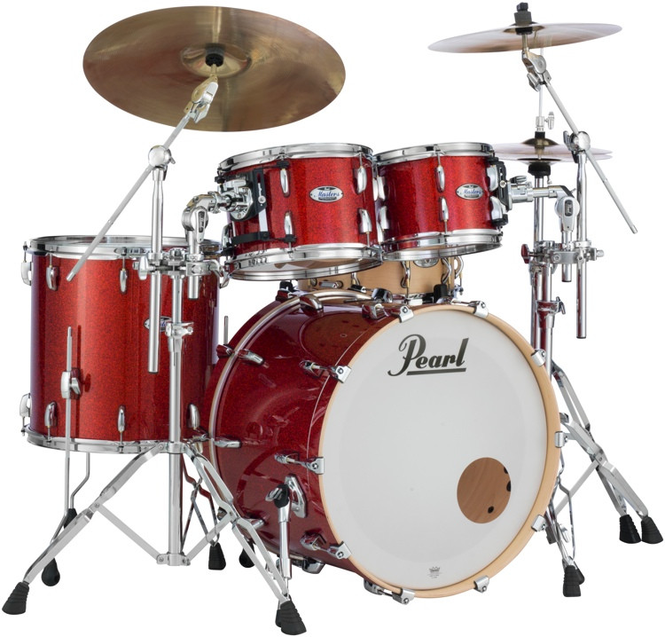 Pearl Masters Complete 4-piece Shell Pack - Vermilion Red Sparkle image 1