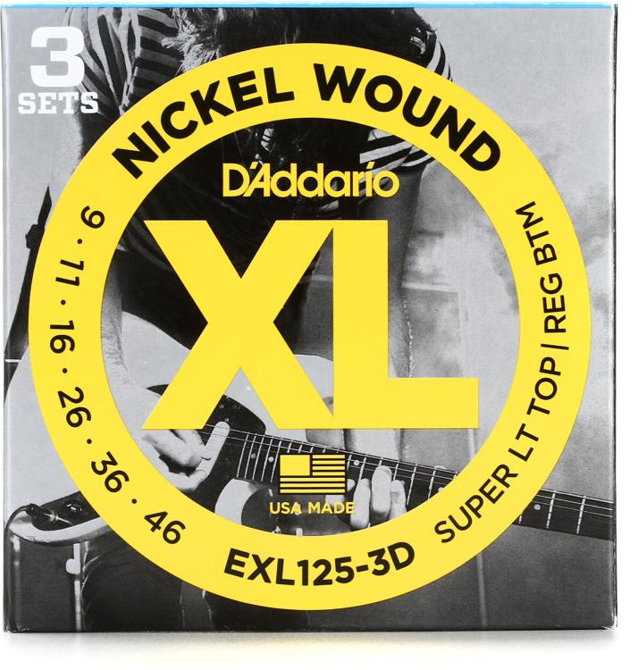 D\'Addario EXL125-3D Nickel Wound Super Light Top/Regular Bottom Electric Strings 3-Pack image 1