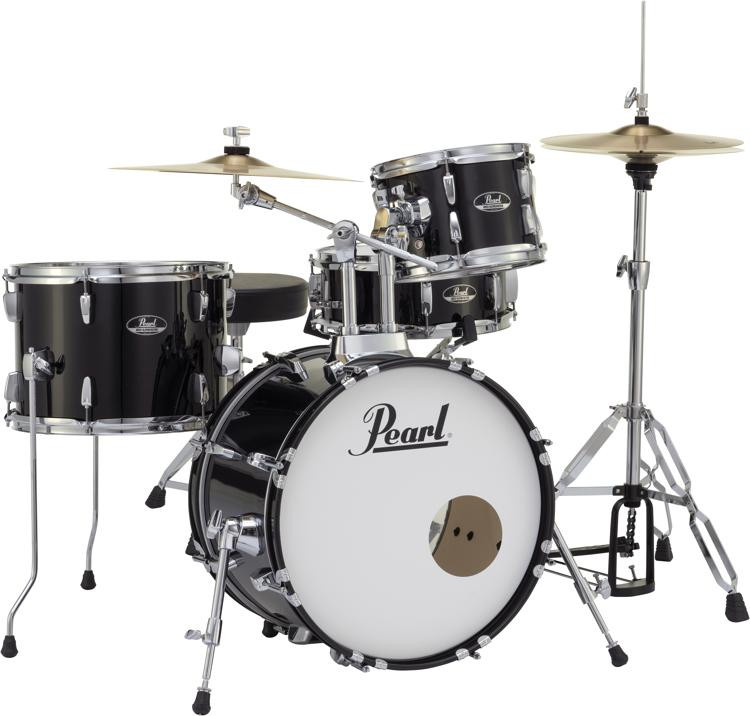 Pearl Roadshow 4-piece Complete Drum Set with Cymbals - Jet Black image 1