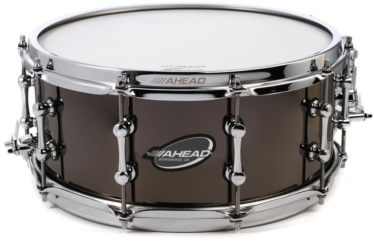ahead as614 6 x 14 brass snare drum black chrome sweetwater. Black Bedroom Furniture Sets. Home Design Ideas