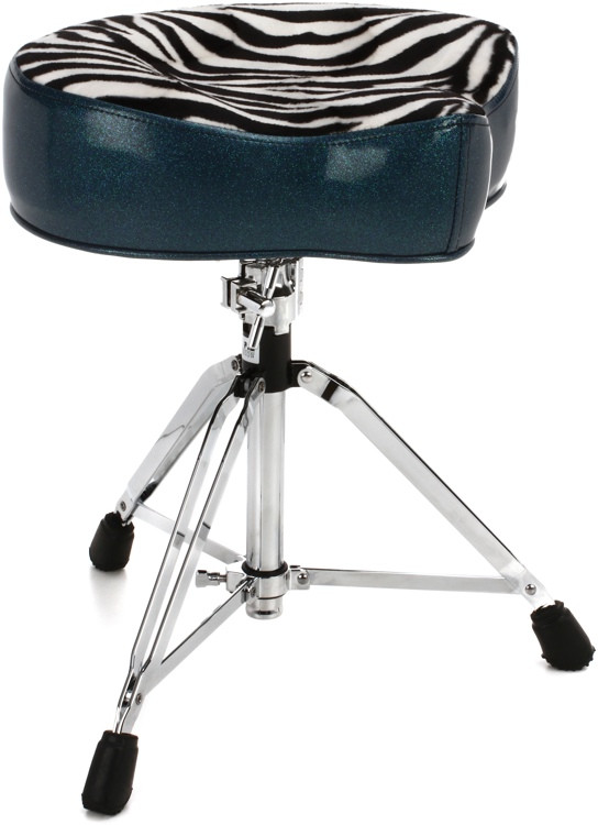 Pork Pie Percussion Big Boy Drum Throne - Peacock Sparkle with Zebra Top image 1