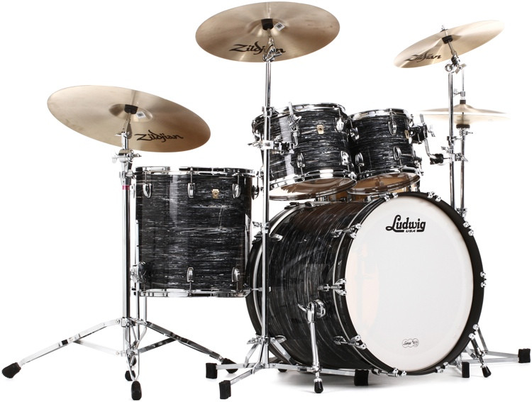 Ludwig Classic Maple Mod 22 Shell Pack - Vintage Black Oyster image 1