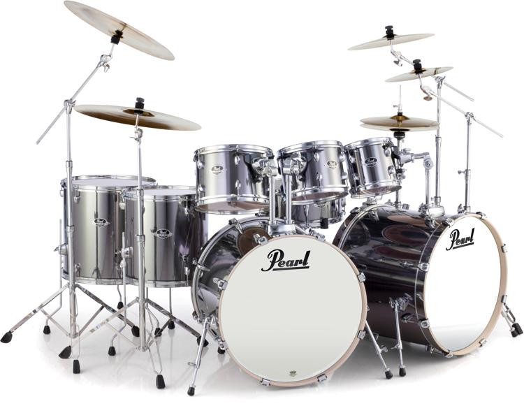 Pearl Export EXX 8-piece Double Bass Drum Set with Hardware - Smokey Chrome image 1