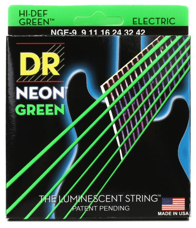 DR Strings NGE-9 Neon Hi-Def Green K3 Coated Lite Electric Guitar Strings image 1