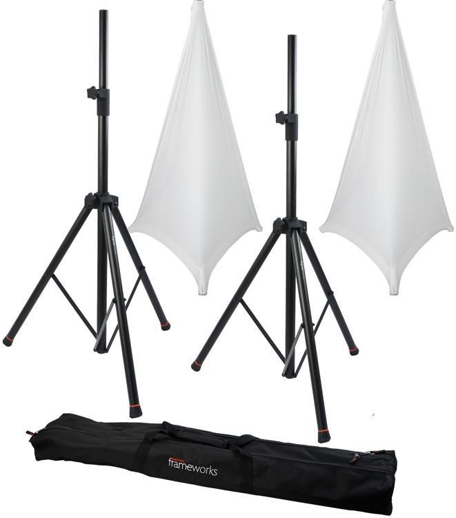 Gator Frameworks 3000 Speaker Stand, Bag and Cover Package - White image 1