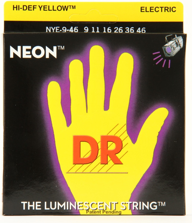 DR Strings NYE-9/46 Neon Hi-Def Yellow K3 Coated Lite-Heavy Electric Guitar Strings image 1