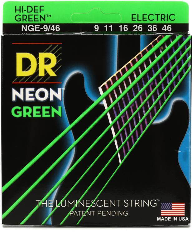 DR Strings NGE-9/46 Neon Hi-Def Green K3 Coated Lite-Heavy Electric Guitar Strings image 1