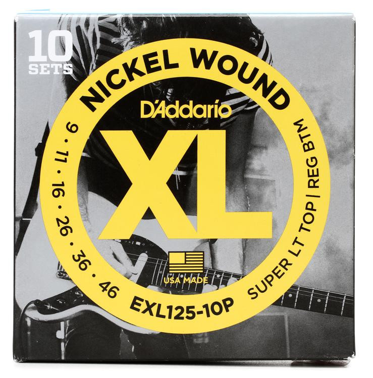 D\'Addario EXL125 Nickel Wound Super Light Top/Regular Bottom Electric Strings 10-Pack image 1