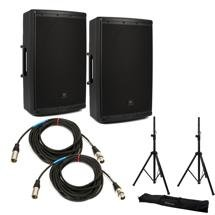 JBL EON612 Speaker Pair with Stands and Cables