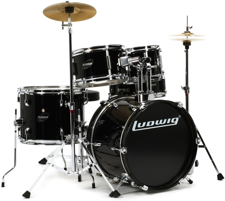 Ludwig 5-piece Junior Drum Set with Cymbals and Hardware - Black image 1