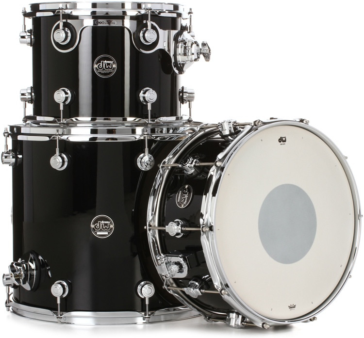 DW Performance Series 3-piece Tom/Snare Pack - Gloss Black Finish Ply image 1