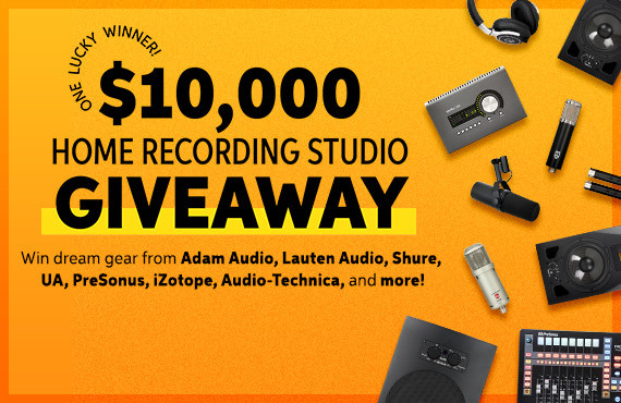 $10,000 Home Recording Studio Giveaway -- input your email address below to enter or click here to learn more.