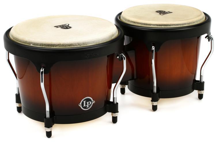 Latin Percussion Aspire Wood Bongos - Vintage Starburst with Black Hardware image 1