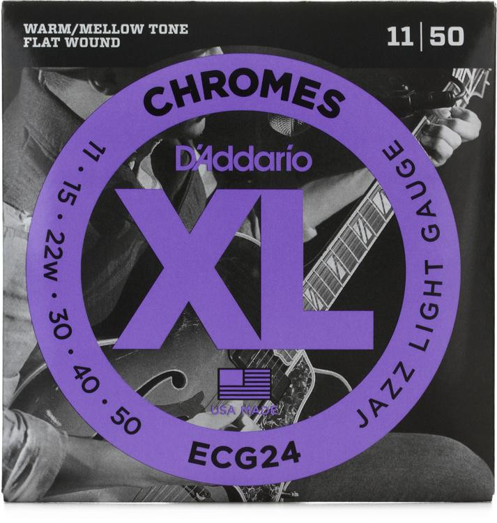 D\'Addario ECG24 Chromes Flatwound Jazz Light Electric Strings image 1