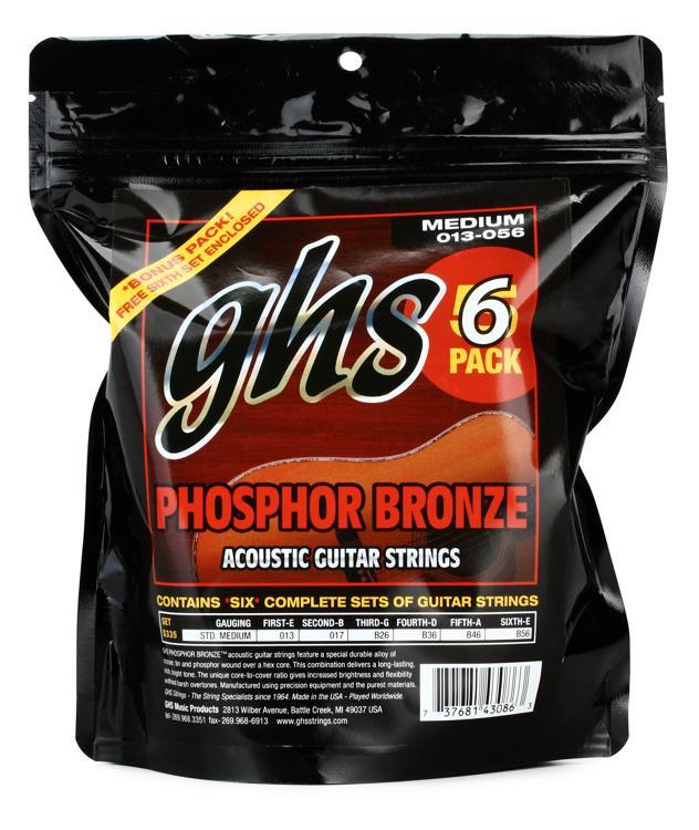 GHS S335 Phosphor Bronze Medium Acoustic Guitar Strings 6-Pack image 1