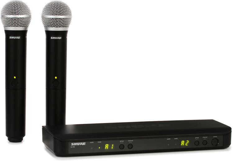 shure blx288 pg58 dual channel wireless handheld microphone system h9 band sweetwater. Black Bedroom Furniture Sets. Home Design Ideas