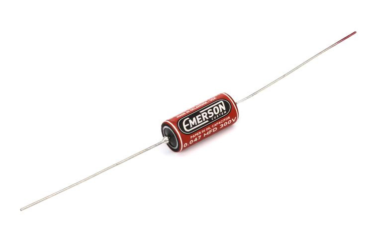 Emerson Custom Paper in Oil Tone Capacitor - 0.047uf Red and Cream image 1