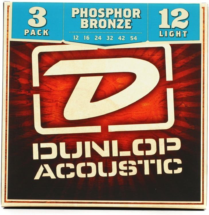 Dunlop DAP1254 Phosphor Bronze Light Acoustic Strings 3 Pack image 1