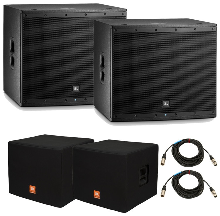 JBL EON618S Subwoofer Pair with Covers and Cables image 1