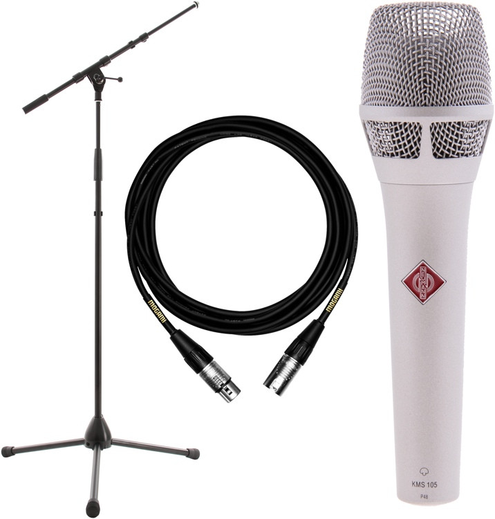 Neumann KMS 105 Microphone with Stand and Cable - Nickel image 1