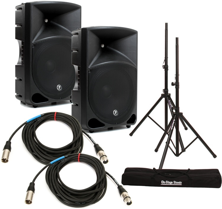 Mackie Thump 15 Speaker Pair with Stands and Cables image 1