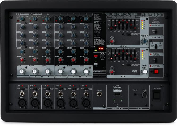 behringer europower pmp560m 6 channel 500w powered mixer sweetwater. Black Bedroom Furniture Sets. Home Design Ideas