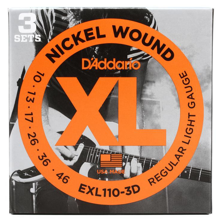 d 39 addario exl110 3d nickel wound electric strings 010 046 regular light 3 pack sweetwater. Black Bedroom Furniture Sets. Home Design Ideas