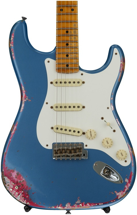 Fender Custom Shop 1957 Heavy Relic Stratocaster - Lake Placid Blue over Pink Paisley image 1