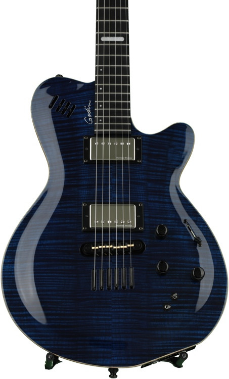 godin lgx sa trans blue flame aa sweetwater. Black Bedroom Furniture Sets. Home Design Ideas