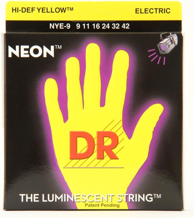 DR Strings NYE-9 Neon Hi-Def Yellow K3 Coated Lite Electric Guitar Strings image 1