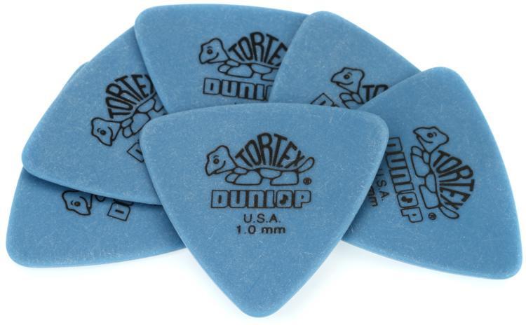 Dunlop 431P1.0 Tortex Triangle 1.0mm Blue Guitar Picks 6-pack image 1