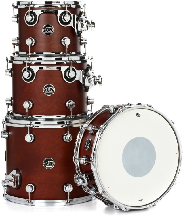 DW Performance Series 4-piece Tom /Snare Pack - Tobacco Satin Oil image 1