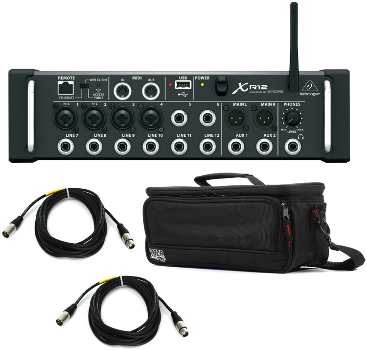 behringer x air xr12 digital mixer with case and cables sweetwater. Black Bedroom Furniture Sets. Home Design Ideas