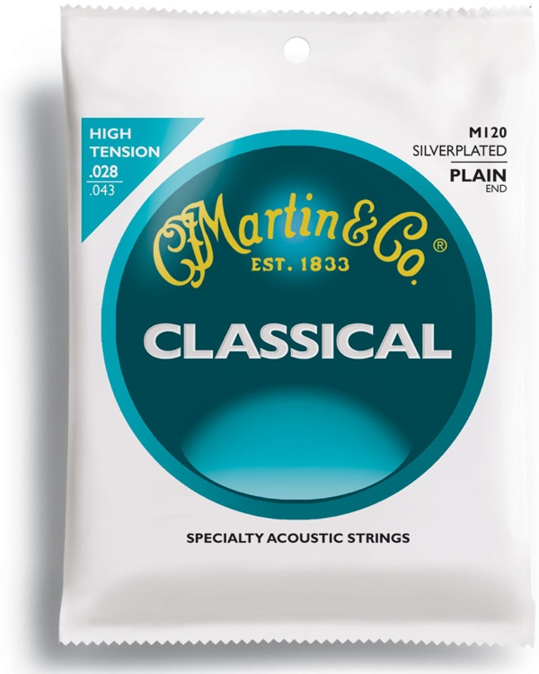 Martin M-120 High Tension Silver Plated Nylon Guitar Strings image 1