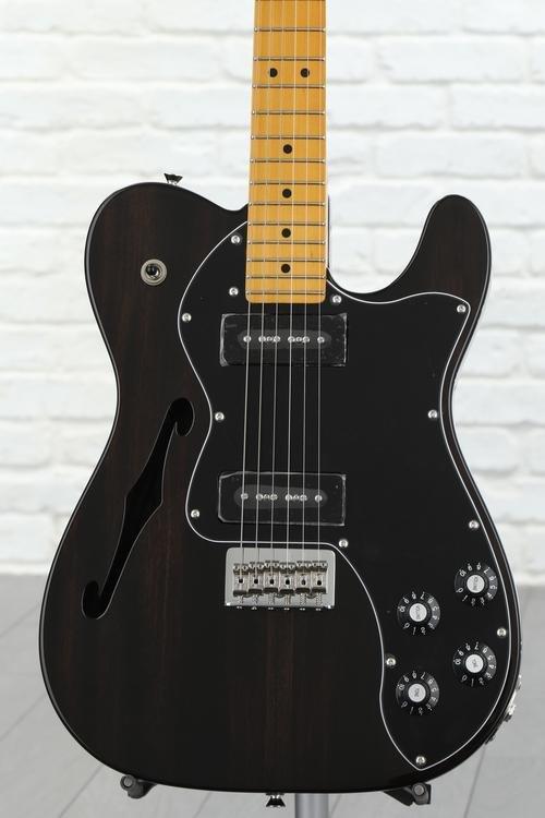 Fender Modern Player Telecaster Thinline Deluxe - Black Transparent