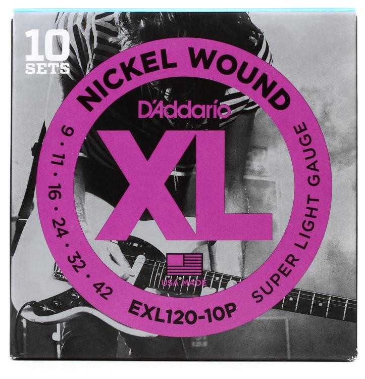 D\'Addario EXL120 Nickel Wound Super Light Electric Strings 10-pk image 1