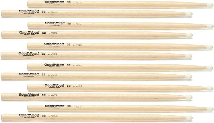 Goodwood US Hickory Drumsticks - 6 Pair - 5B - Nylon Tip image 1