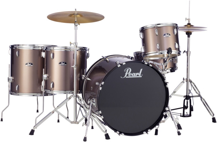 pearl roadshow 5pc rock drum set with wuhan cymbals bronze metallic sweetwater. Black Bedroom Furniture Sets. Home Design Ideas