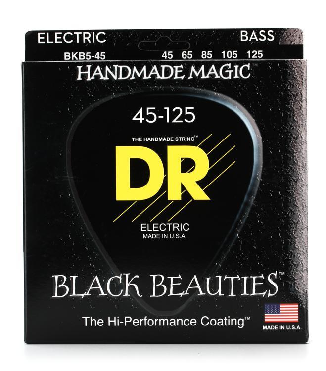 DR Strings BKB5-45 Black Beauties Coated Steel Medium 5-String Bass Strings image 1