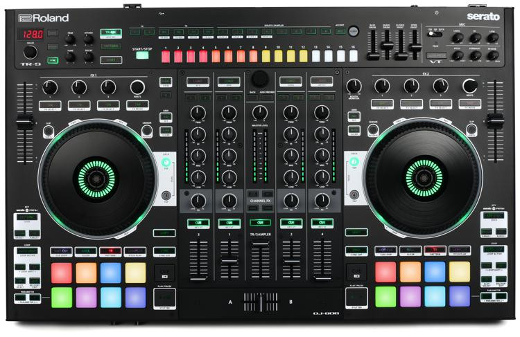roland dj 808 4 deck serato dj pro controller with drum machine and vocal transformer sweetwater. Black Bedroom Furniture Sets. Home Design Ideas