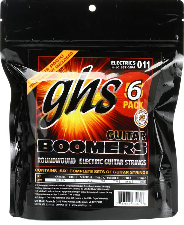 GHS GBM-5 Guitar Boomers Roundwound Medium Electric Guitar Strings 6-Pack image 1