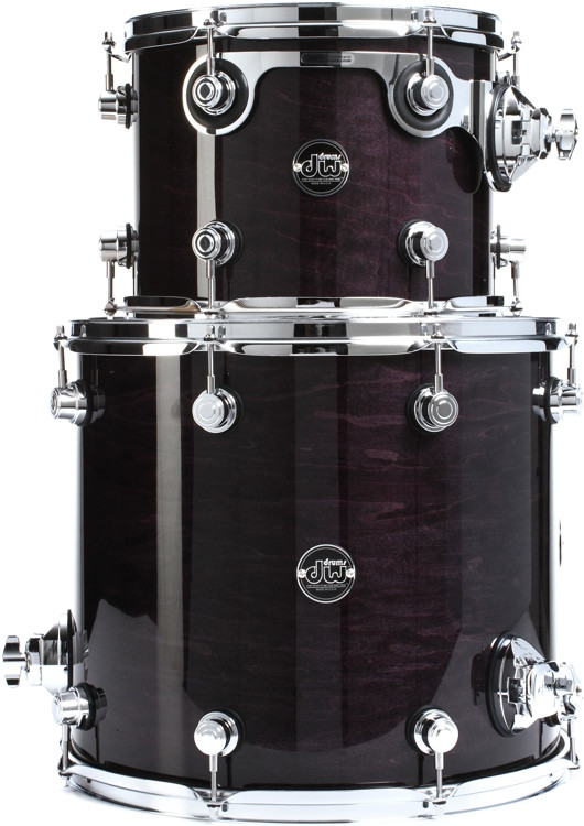 DW Performance Series 2 Piece Tom Pack - Ebony Stain Lacquer image 1