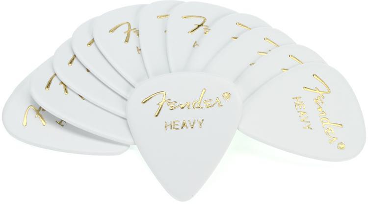 Fender 351 Shape Classic Celluloid Picks - Heavy White - 12-Pack image 1