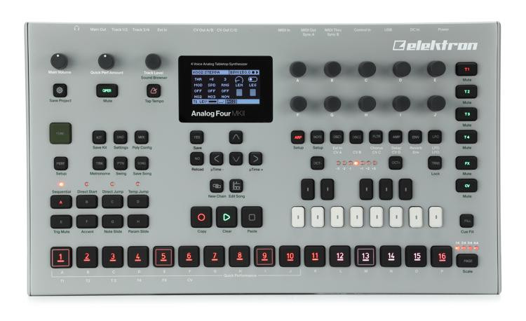 elektron analog four mkii 4 voice analog synthesizer with sequencer sweetwater. Black Bedroom Furniture Sets. Home Design Ideas