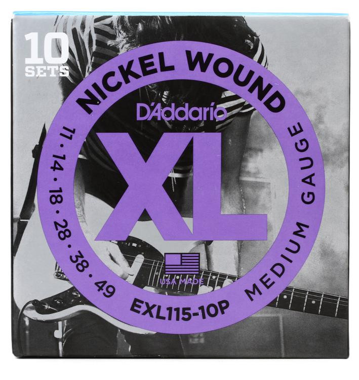 D\'Addario EXL115 Nickel Wound Blues/Jazz Rock Electric Strings 10-Pack image 1