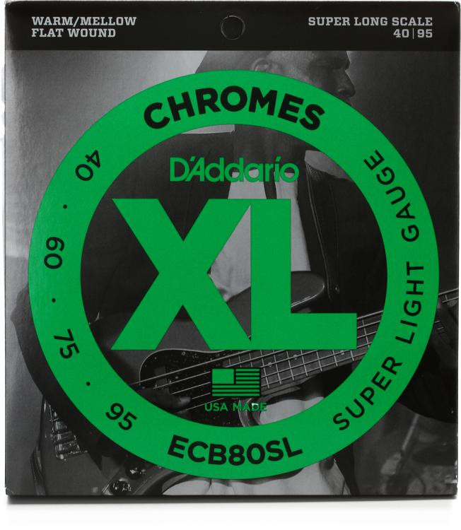 D\'Addario ECB80SL Chromes Flatwound Long Scale Super Light Bass Strings image 1