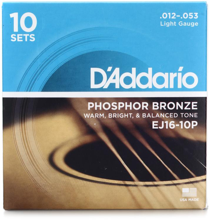 D\'Addario EJ16 Phosphor Bronze Light Acoustic Strings 10-Pack image 1